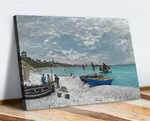 CANVAS WALL ART  PAINTING PRINT ARTWORK Claude Monet The Beach at Sainte-Adresse