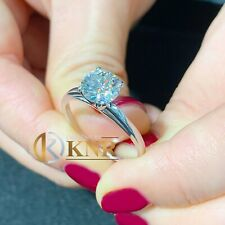 14K WHITE GOLD ROUND CUT FOREVER ONE MOISSANITE ENGAGEMENT RING SOLITAIRE 1.00