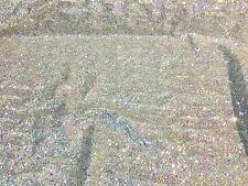 Silver 4-Way Stretch Glamour Shinny Hologram sequin Spandex Tricot Metallic
