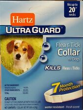 "Hartz Ultraguard Flea and Tick Collar for Dogs 20"" Neck White 7 Months FREE SHIP"