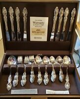 1881 ROGERS ONEIDA SILVER PLATED FLATWARE  BAROQUE ROSE 56 PIECES + CASE