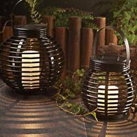 Luce LED Rettan Effetto Solare Lampada Da Tavolo Candela Giardino Plastica
