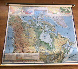 """Vintage 1990s Nystrom 2-layer Canada Pull-down Political Physical Map 51"""" X 62"""""""