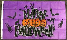 3x5 Purple Happy Halloween Flag Pumpkins Bats Ghosts Cat Outdoor Banner Pennant