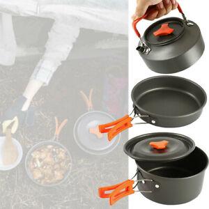 2-3 Person Camping Kochgeschirr Kochtopf Outdoor-Töpfe Bratpfanne Kettle Set DHL