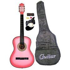 """Beginner Kits 38"""" PINK Acoustic Guitar Starter Package, Guitar, Gig Bag, Strap,"""
