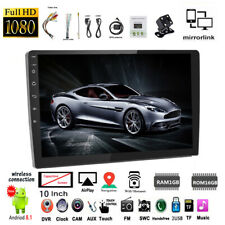 10.1''2 Din Android GPS Car Radio+Camera FM Wifi BT Touch Screen ios Mirror Link
