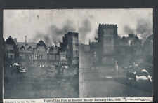 Lincolnshire Postcard - View of The Fire at Denton Manor, January 1906 -  T359