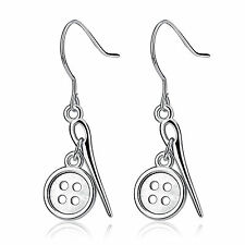 925 Sterling Silver Button and Sewing Needle Earrings Hook Wires Drop Dangle