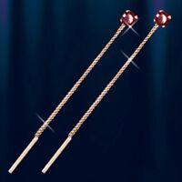 Durchzieher Ohrringe mit Granat Russische Rose Rotgold 585 Neu Glänzend