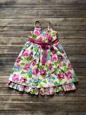 GARNET HILL Kids Girls Floral Dress Pink Colorful Sleeveless Ruffles Size 7