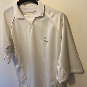 Taylor White Golf Style Polo Shirt Tshirt Top Lightweight & Breathable - Medium