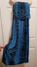 VENUS MEDIUM BLUE SNAKE PRINT STRAPLESS DRESS BEACH CRUISE SWIMSUIT COVER UP