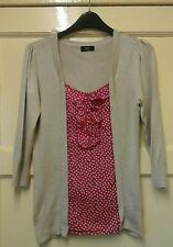 WOMENS LOVELY JUMPER TOP WITH RED WHITE LOVE HEART PANEL SIZE 8