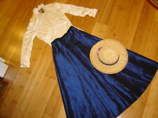 School Marm 2 pc dress sz S ivory blouse navy skirt hat Prairie costume Vict