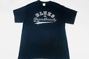 Gildan Ultra Cotton T shirt dark indigo blue Sz L (B5)