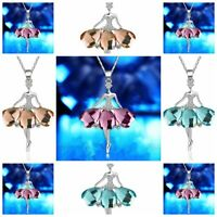 Romantic Women Crystal Fairy Angel Wing Pendant Long Chain Sweater Necklace Gift