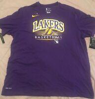 NWT Authentic NIKE NBA LA LAKERS Black Dri Fit Short Sleeve Long Shirt XL