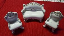 Antique ♡ Marked ♡ China Doll Furniture With Gold Paint ♡ Couch And Two Chairs