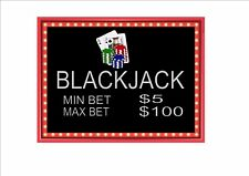 Blackjack Casino Sign Reproduction  Blackjack Table Sign Las Vegas Casino Sign