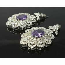 Purple Cubic Zirconia Vintage Flower 18K White Gold Plated Earrings Dangle Stud