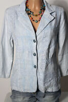 ELISA CAVALETTI Jacke Gr. S hell-blau Batik 3/4-Arm Damen Jacke 100% Leinen
