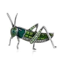Vintage Grasshopper Locust Silver Tone Pendant Brooch Pin Insect Green Crystal