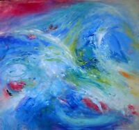 "50"" Original Blue Painting Modern Abstract Art SEA OF LOVE"
