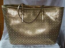 Michael Kors TRAVEL Tote Medium Perforated Leather Gold Metallic Bag AUTHENTIC