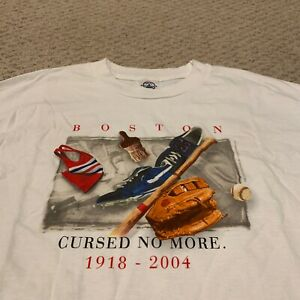Boston Red Sox Cursed No More 2004 World Series Champions T Shirt New NWOT XL