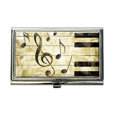 Vintage Piano with Treble Clef and Music Notes Business Credit Card Holder Case