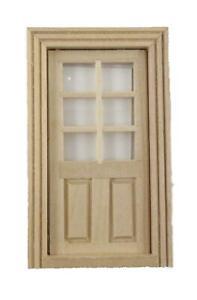 Dolls House Internal Door 2 Panel 6 Light 1:24 Half Inch Scale Bare Wood