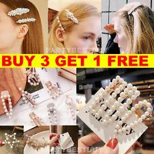 Women's Girls Pearl Hair Clip Gold Hairpin Slide Grips Barrette Hair Accessories