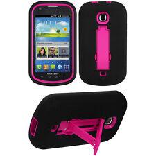 Black Pink 2-Layer V Stand Case SAMSUNG Verizon SCH i200 Galaxy Stellar Legend