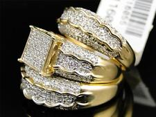Mens Ladies Yellow Gold Diamond Engagement Bridal Wedding Ring Trio Set 1.47 Ct
