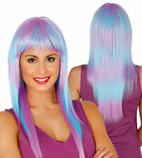 Blue Lilac Pastel Ombre Long Wig Synthetic With Fringe Cosplay Hair High Quality