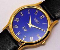 seiko quartz super slim men's gold plated blue dial japan made watch run order