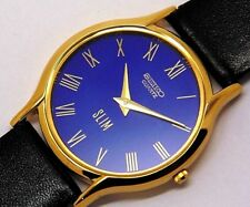 seiko quartz super slim men's gold plated blue dial japan made watch run order