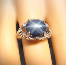 BEAUTIFUL GENUINE NATURAL BLUE STAR SAPPHIRE 7.26 CTS  925 STERLING SILVER RING