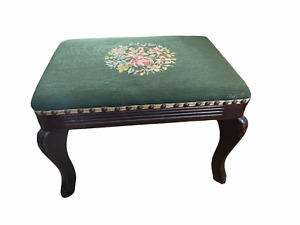 """Vintage Footstool Needlepoint Finished 18""""x13""""x12"""" wood green floral"""