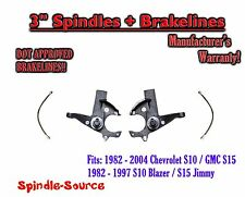 "82-05 Chevy S-10 GMC S-15 Sonoma Blazer Jimmy 3"" Lift Spindles + EXT BRAKE LINES"