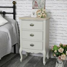 Grey ornate 3 drawer bedside storage chest vintage home French bedroom furniture