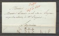 1816 Lettre Préfet/dept de l'Ain, rouge, AIN.  X3998