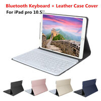 """For iPad Pro 10.5"""" Detachable Wireless Bluetooth Keyboard + Leather Case Stand"""