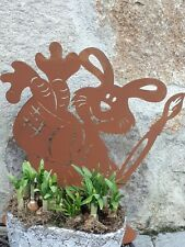 Hase Lindi Edelrost Ostern Dekoration Garten Wohndeko