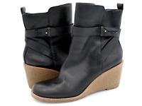 Bass Womens 9.5M Black Jayden Leather Round Toe Zip Wedge High Heel Ankle Boot