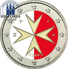 Malta 2 euro moneta da 2008 BFR. Croce Maltese in colore