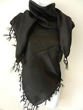 Poly Plain Black Arab Shemagh Head Scarf Neck Wrap Keffiyah Desert Wear Unisex
