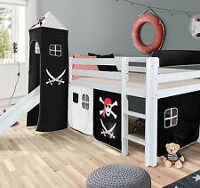 Pirat Hochbett Spielbett mit Rutsche massiv weiss Turm Mit Vorhang Hochbett Bett
