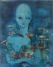 Grande lithographie nommée floraison signée Zanetti